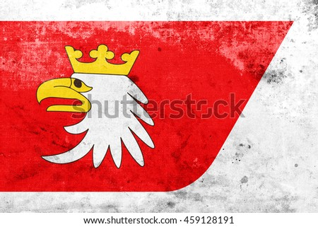 Flag of Warmian-Masurian Voivodeship, Poland, with a vintage and old look - stock photo