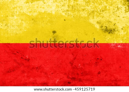 Flag of Warsaw, Poland, with a vintage and old look - stock photo