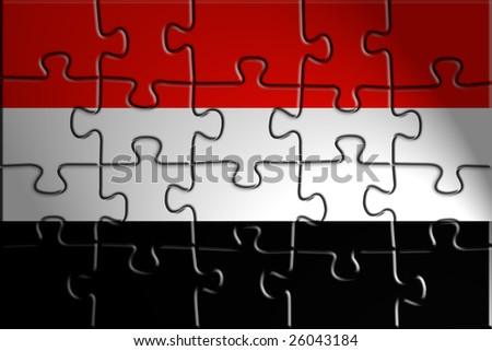 Flag of Yemen, national country symbol illustration