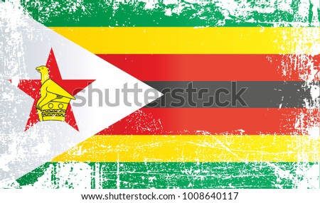 Flag of zimbabwe africa wrinkled dirty spots can be used for design