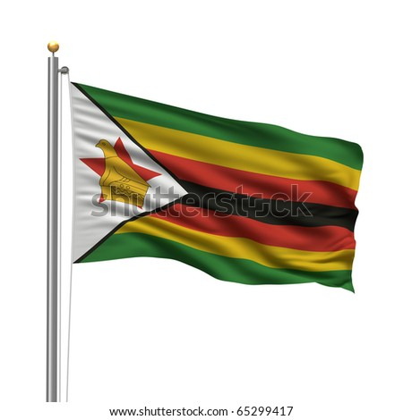 of Zimbabwe with flag pole waving in the wind over white background ...