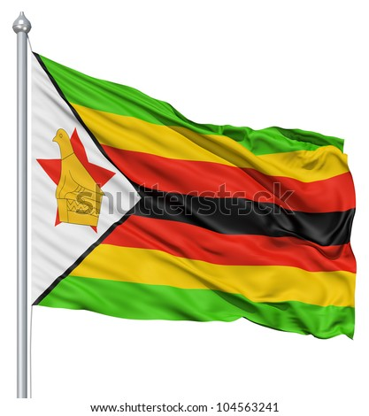 Flag of Zimbabwe with flagpole waving in the wind against white background