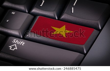 Flag on button keyboard, flag of Vietnam - stock photo
