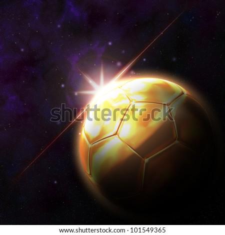 Flag on 3d football with rising sun illustration - stock photo