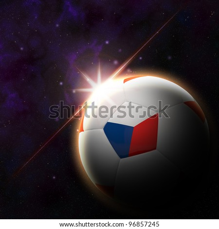Flag on 3d football with rising sun illustration for Euro 2012 Group A - stock photo
