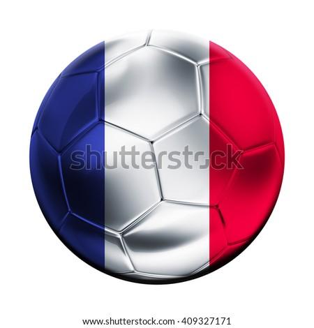 Flag on soccer ball of France - stock photo