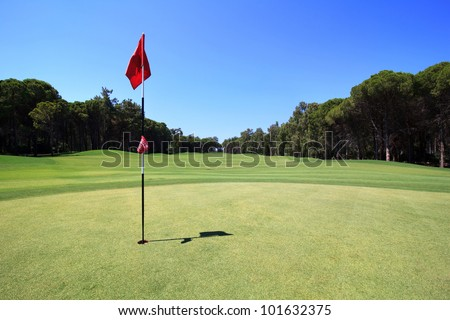 Flag on the golf course. - stock photo