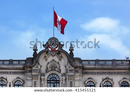 flag on the roof of the palace - stock photo