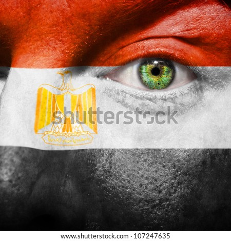 Flag painted on face with green eye to show Egypt support - stock photo