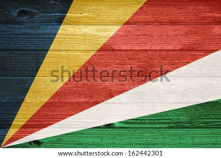 Flag painted on old wood plank background
