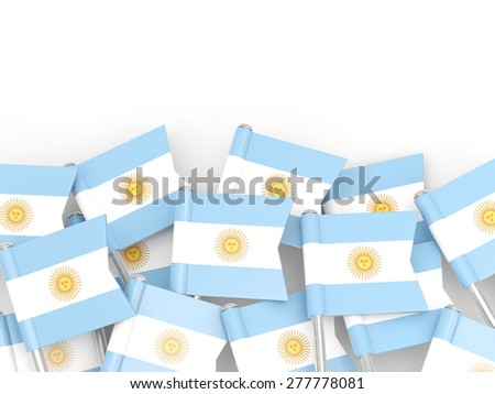 Flag pin of argentina isolated on white - stock photo