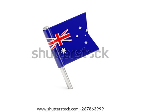 Flag pin of australia isolated on white - stock photo