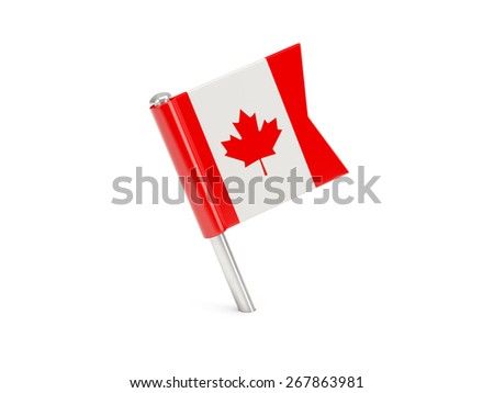 Flag pin of canada isolated on white - stock photo