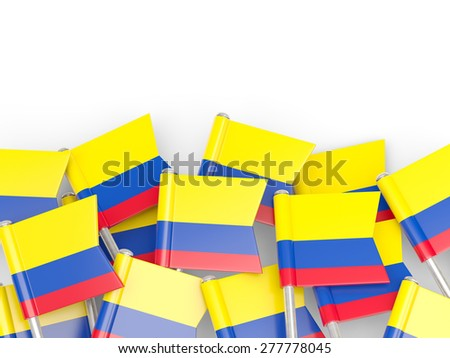 Flag pin of colombia isolated on white - stock photo