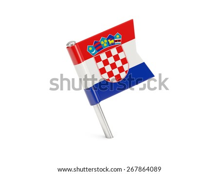 Flag pin of croatia isolated on white - stock photo