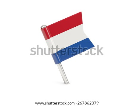 Flag pin of netherlands isolated on white - stock photo