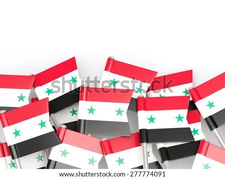 Flag pin of syria isolated on white - stock photo