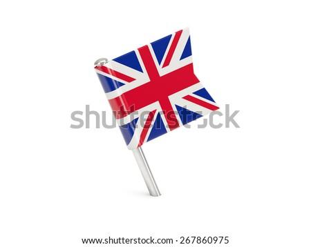 Flag pin of united kingdom isolated on white - stock photo