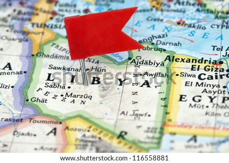 Flag pin on the map pointing Libya - stock photo