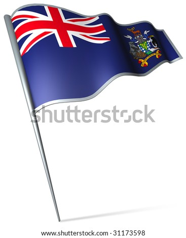 Flag pin - South Georgia and the South Sandwich Islands (UK) - stock photo