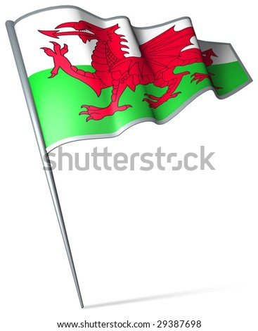 Flag pin - Wales - stock photo