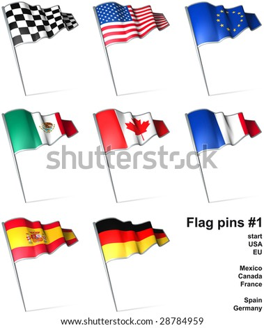 Flag pins 1 - stock photo