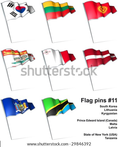 Flag pins #11 - stock photo