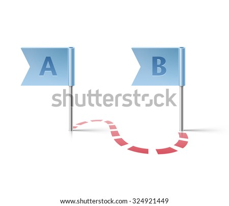 Flag pins from point A to point B - stock photo