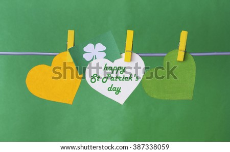 Flag Republic of Ireland on pegs ( clothespin ). happy St Patrick's Day card, March 17 - stock photo