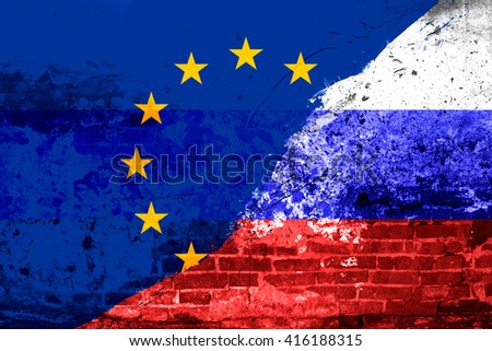 Flag Russia and the European Union on the old brick wall, concept conflict in the double exposure - stock photo