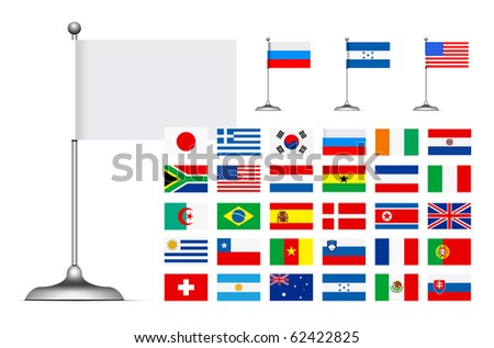 Flag set on white background - stock photo