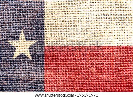 flag texas sackcloth texture - stock photo