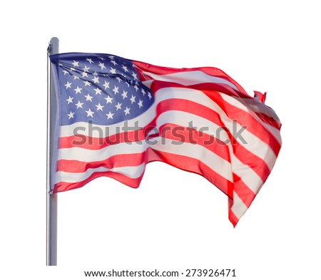 Flag USA isolated over white background - stock photo
