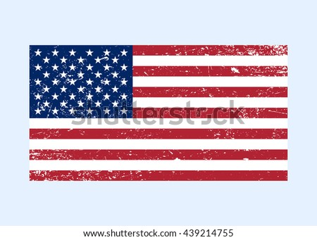 Flag USA sign Grunge. National symbol of freedom, independence. Original simple United State Of America flag isolated on white background. Official colors and Proportion Correctly. illustration - stock photo