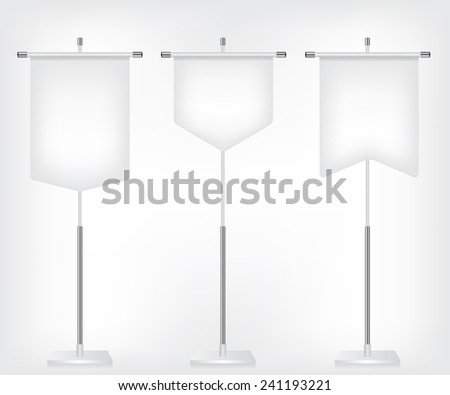 Flag white banner different shapes - stock photo