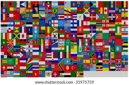 flag world - stock photo