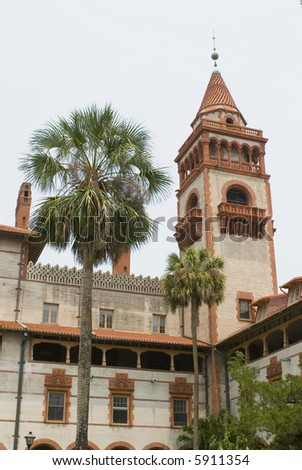 Flagler College St. Augustine Florida building tower 02 - stock photo