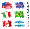 Flags - America, England, Italy, Brazil, Canada and Argentina - stock photo