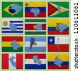 Flags and maps of South America countries on a sackcloth - stock photo