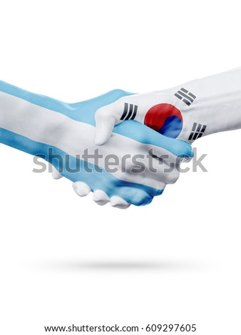 Flags Argentina, South Korea countries, handshake cooperation, partnership, friendship or national sports team competition concept, isolated on white