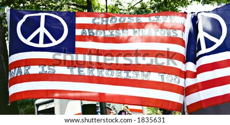 Flags at peace rally Cleve., OH - stock photo