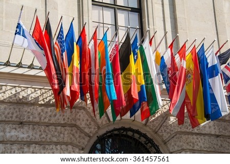 Flags at the HQ of OSCE in Vienna, Austria - stock photo