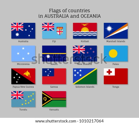 Flags countries australia oceania flat style stock illustration flags countries australia and oceania flat style set collection of national symbols illustrations of ccuart Choice Image
