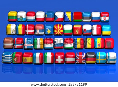 Flags Europe cube-shaped - stock photo