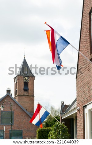 Flags for kings day in Holland - stock photo
