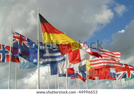 Flags from the countries that fought in World War Two.
