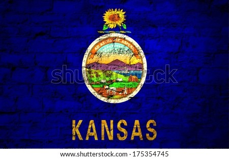 Flags from the states of the  USA ; the flag of kansas  - stock photo