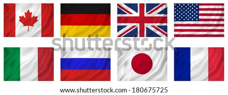 Flags G8 Industrialized countries, isolated. - stock photo