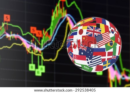 Flags globe over the display of daily stock market chart of financial instruments analysis including Japanese candlestick with buy-sell signal analysis. Global stock market investment concept. - stock photo