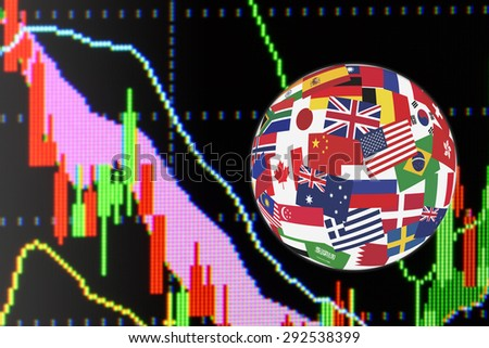 Flags globe over the display of daily stock market chart of financial instruments for technical analysis including Japanese candlestick and Bollinger analysis. Global stock market investment concept. - stock photo